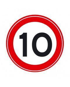 Verkeersbord A01(10), Maximum snelheid 10 km