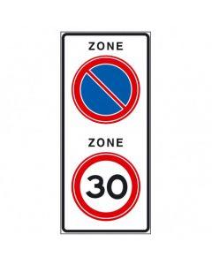 Verkeersbord A01(30)E01zb, Begin zone 30 km en begin zone verboden te parkeren