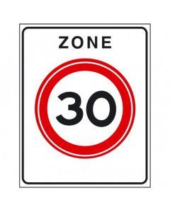 Verkeersbord A01(30)zb, Begin zone met maximum snelheid geldend in een vastgesteld zonegebied