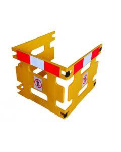 Inklapbaar afzethek 300 x 80 cm, 3 segmenten, kleur geel met rood/witte blok markering
